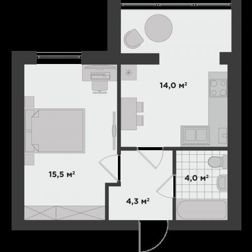 Однокімнатна квартира 37,8 м.кв.