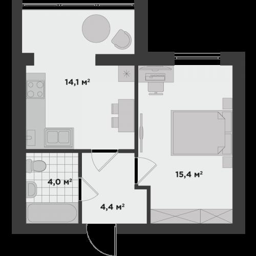 Однокімнатна квартира 38 м.кв.