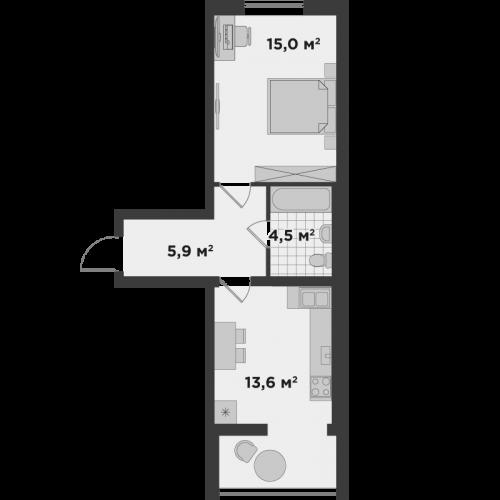 Однокімнатна квартира 39,0 м.кв.