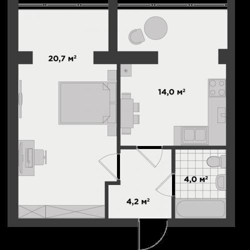 Однокімнатна квартира 43 м.кв.