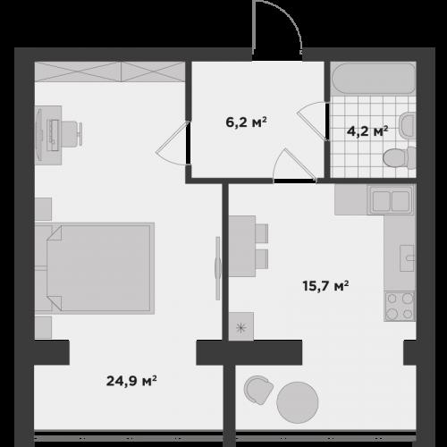 Однокімнатна квартира 51,7 м.кв.
