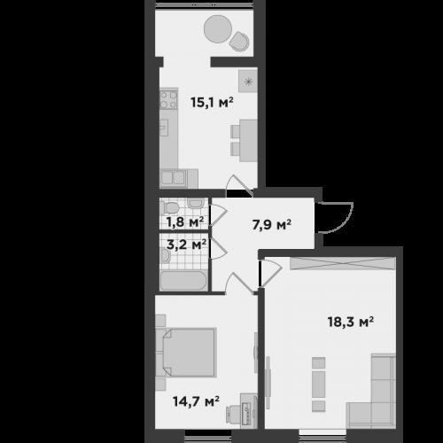 Двокімнатна квартира 61,0 м.кв.