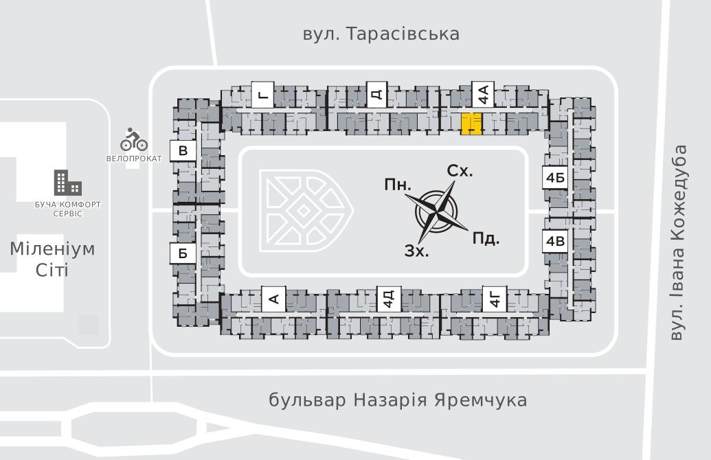 Однокімнатна квартира 44,8 м.кв.