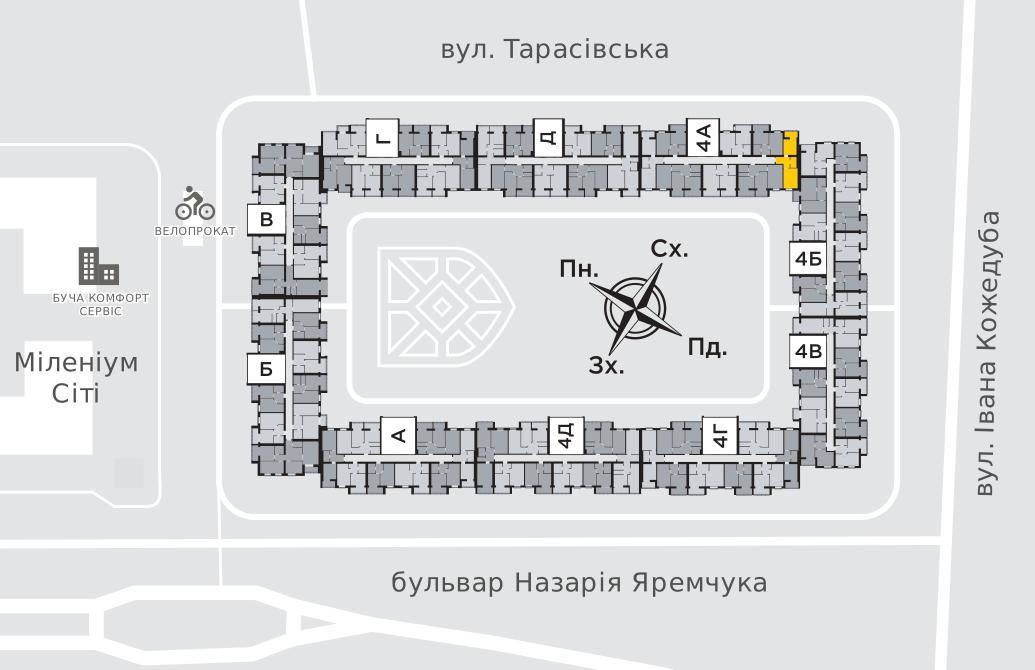 Однокімнатна квартира 41,3 м.кв.