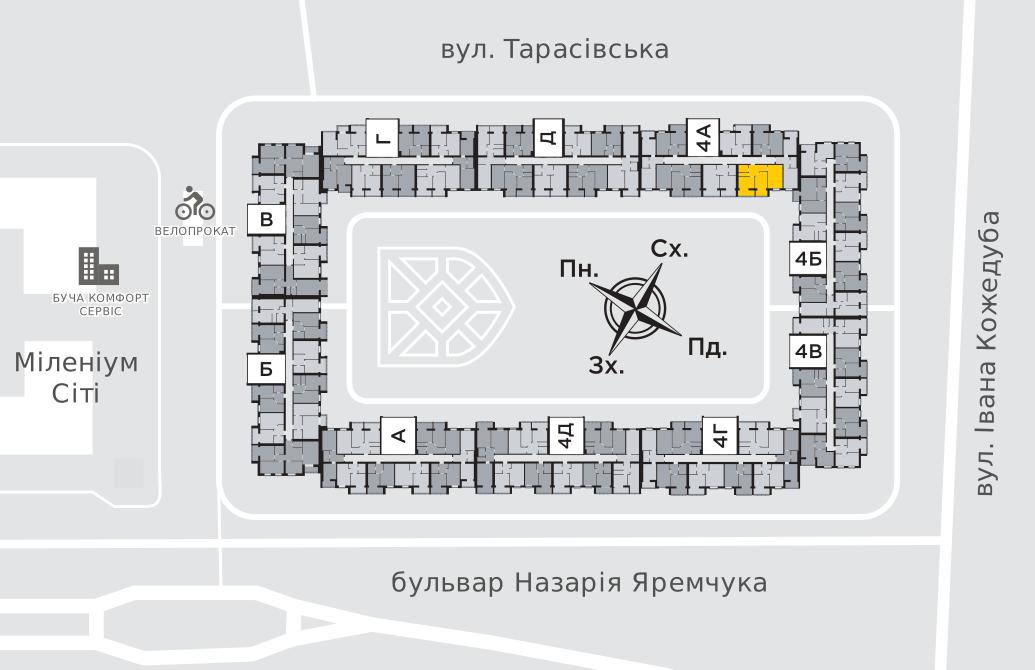 Двокімнатна квартира 63,4 м.кв.