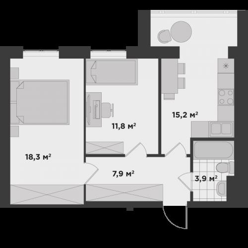 Двокімнатна квартира 57,1 м.кв.