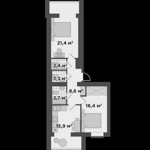 Двухкомнатная квартира 70,7 м.кв.