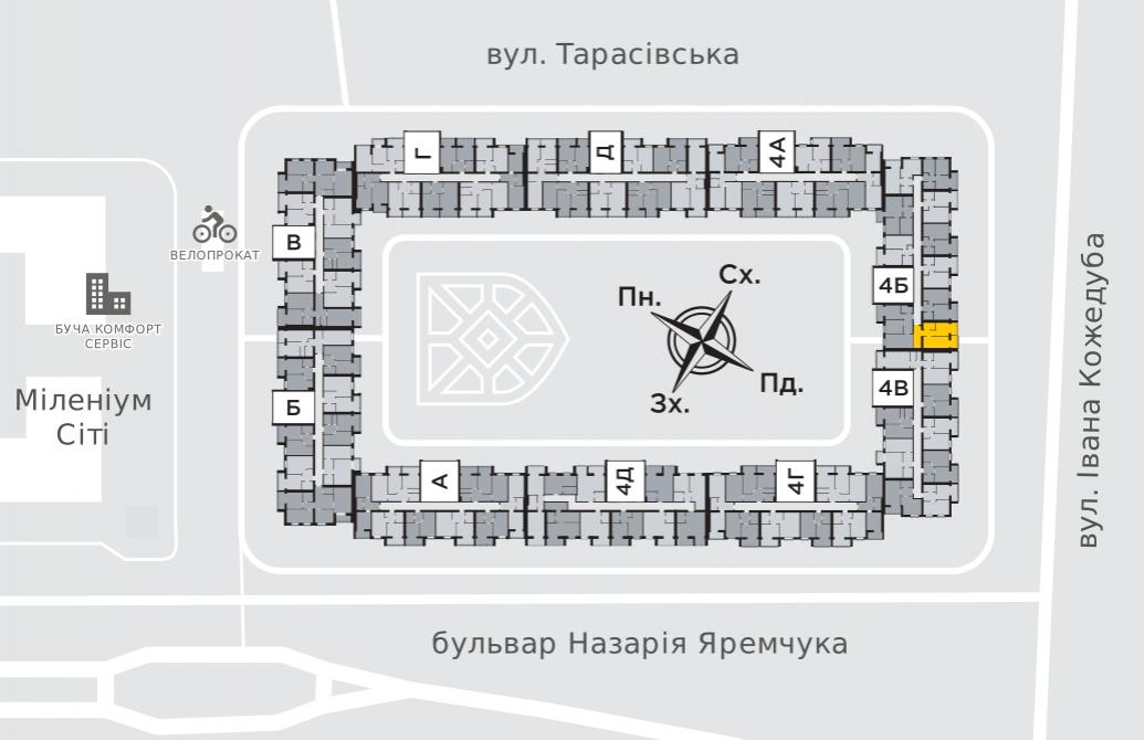 Однокімнатна квартира 45,1 м.кв.