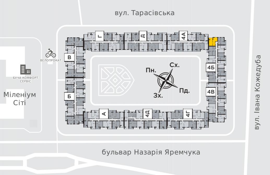 Однокімнатна квартира 45,3 м.кв.