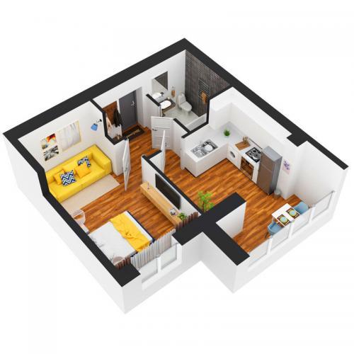 Однокімнатна квартира 35,4 м.кв.
