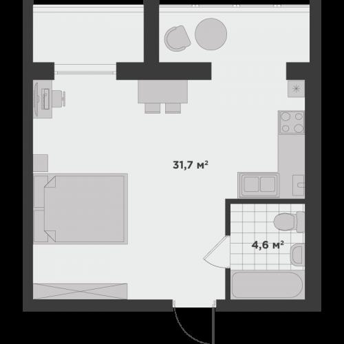 Однокімнатна квартира 40,7 м.кв.