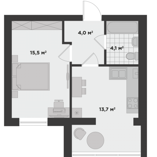 Однокімнатна квартира 37,3 м.кв.