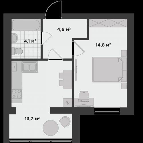 Однокімнатна квартира 37 м.кв.