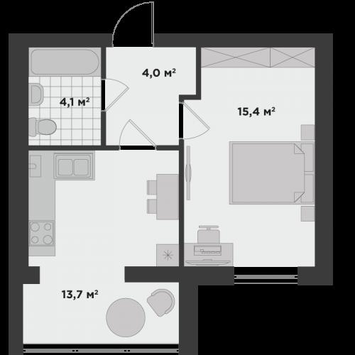 Однокімнатна квартира 37,2 м.кв.