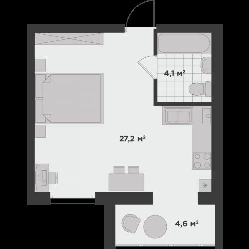 Однокімнатна квартира 35,9 м.кв.
