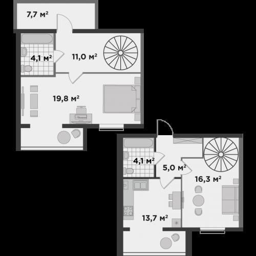 Двокімнатна квартира 86,2 м.кв.