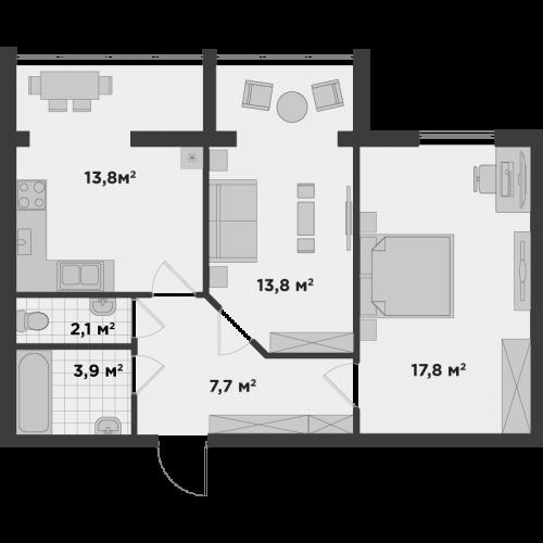 Двокімнатна квартира 59,1 м.кв.