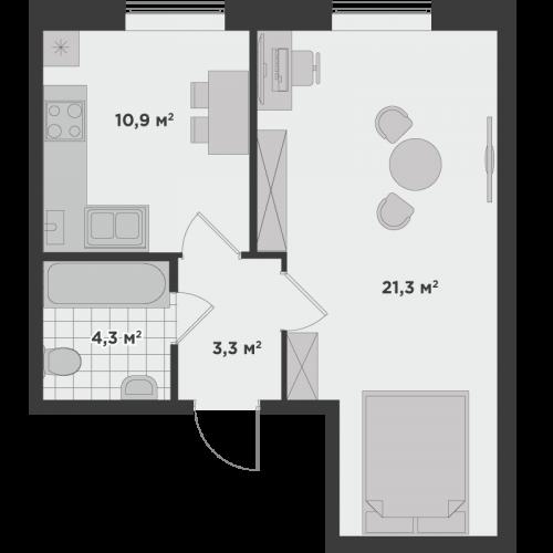 Однокімнатна квартира 39,8 м.кв.