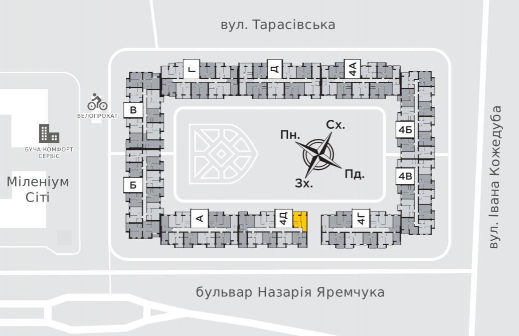Однокімнатна квартира 44,4 м.кв.