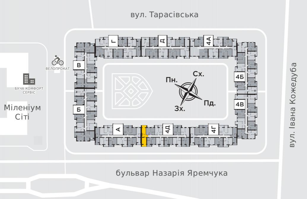 Однокімнатна квартира 51,9 м.кв.