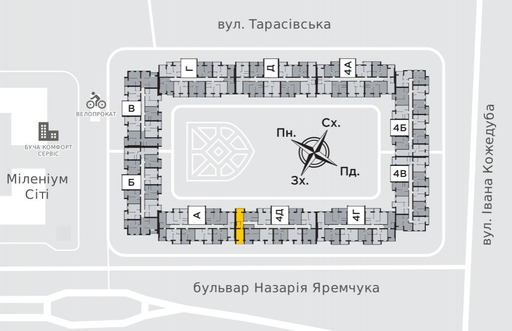 Однокімнатна квартира 52,4 м.кв