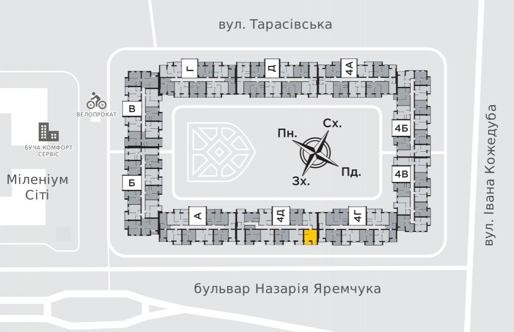 Однокімнатна квартира 38,7 м.кв.