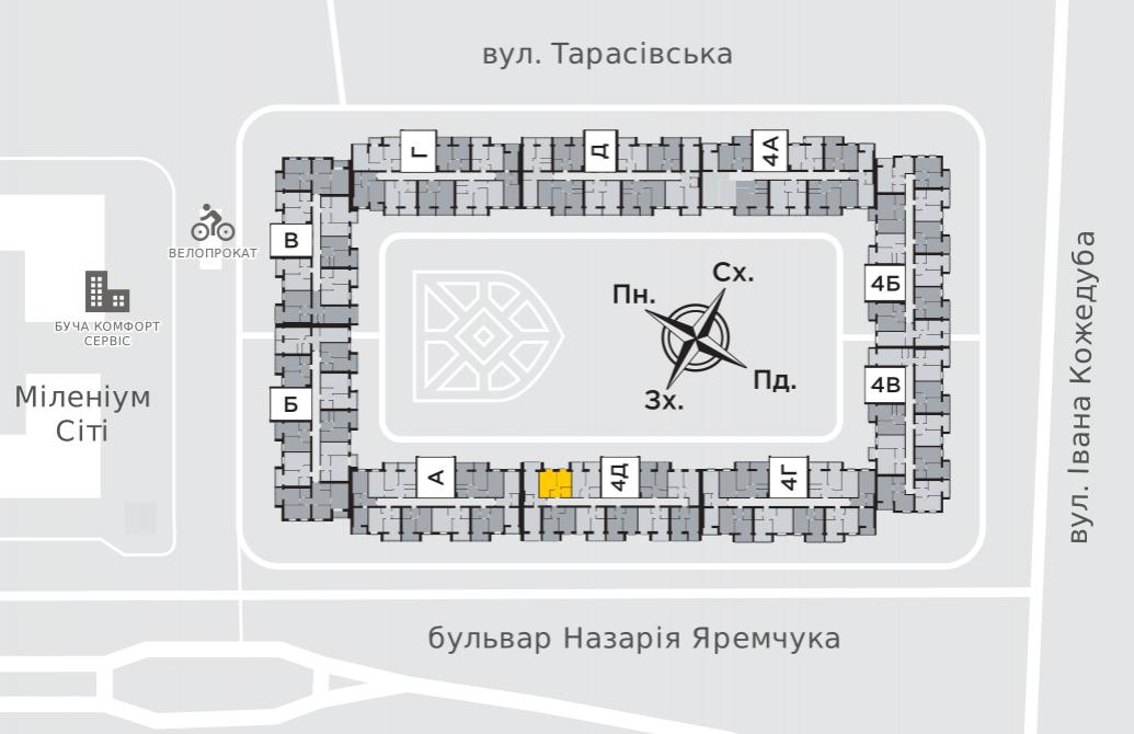 Однокімнатна квартира 38,4 м.кв.