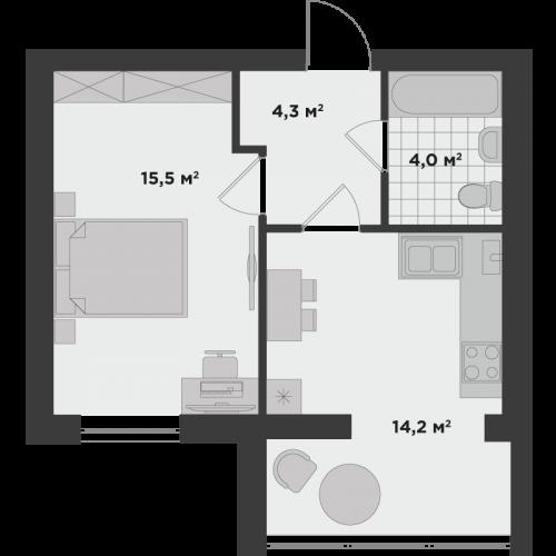 Однокомнатная квартира 38 м.кв.