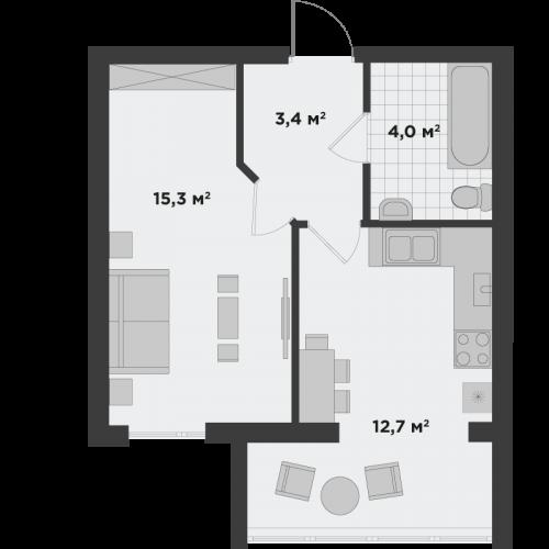 Однокімнатна квартира 35,5 м.кв.