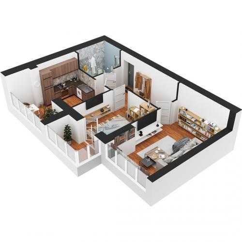 Двокімнатна квартира 63,1 м.кв.