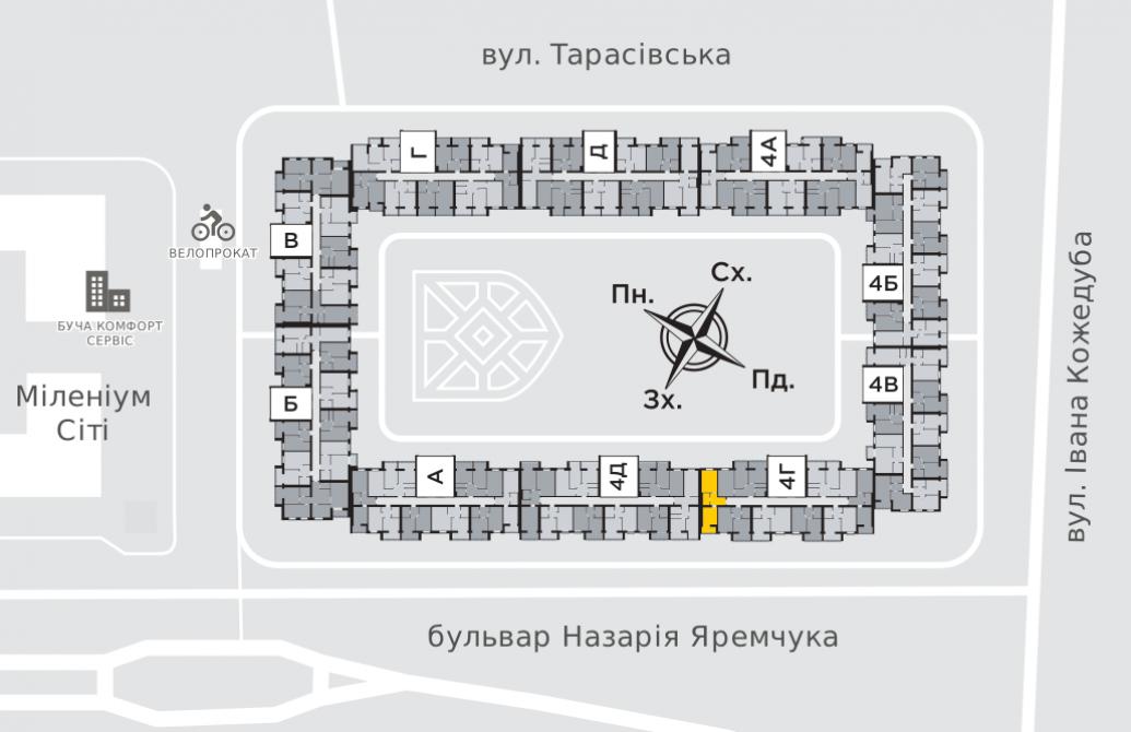 Однокімнатна квартира 41,8 м.кв.