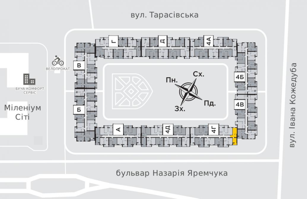 Однокімнатна квартира 42 м.кв.