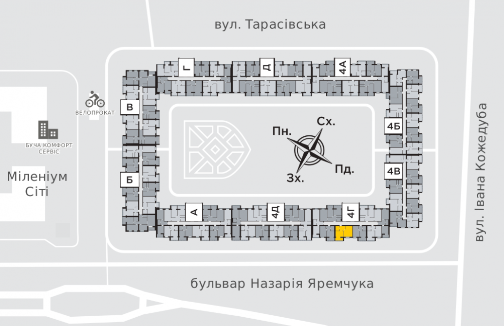 Однокімнатна квартира 44,7 м.кв.