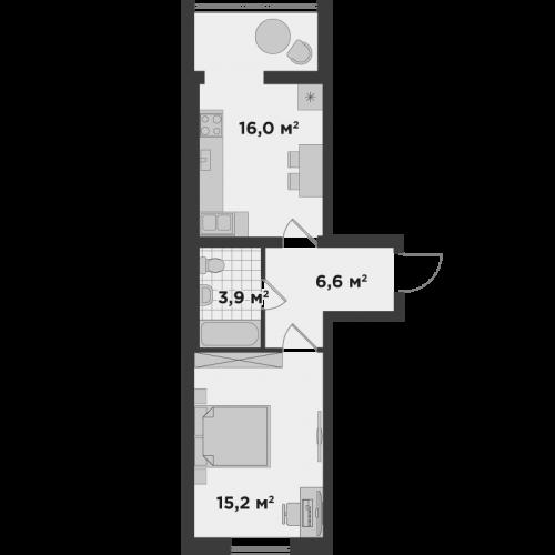 Однокімнатна квартира 40 м.кв