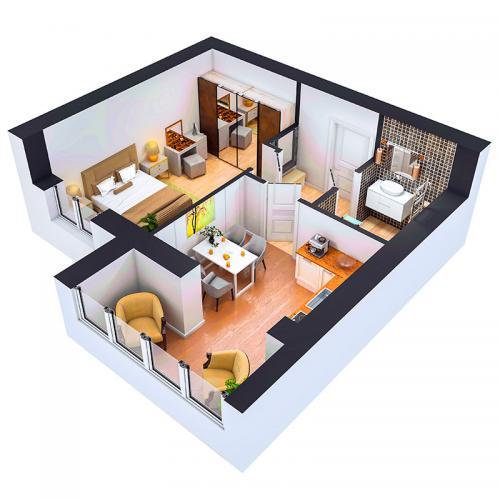 Однокімнатна квартира 39 м.кв.