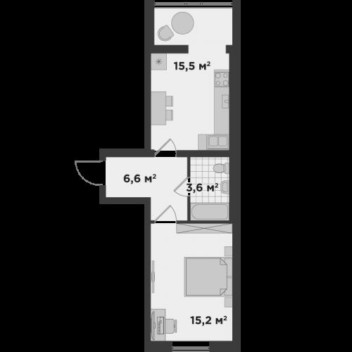 Однокімнатна квартира 41 м.кв.