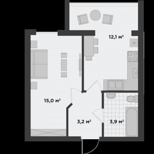 Однокімнатна квартира 34,3 м.кв