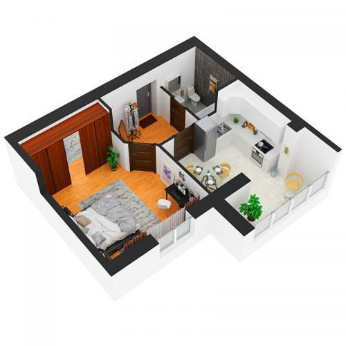 Однокімнатна квартира 45,5 м.кв