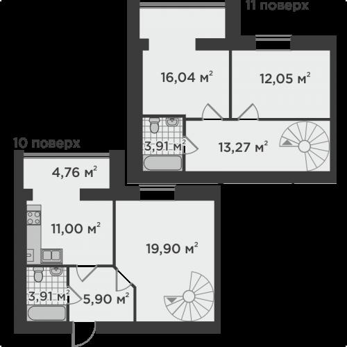 Трикімнатна квартира 90,74 м.кв.