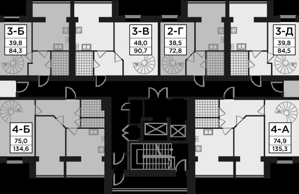 Трикімнатна квартира 84,54 м.кв.