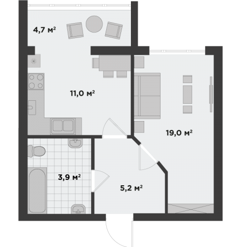 Однокімнатна квартира 43,9 м.кв.
