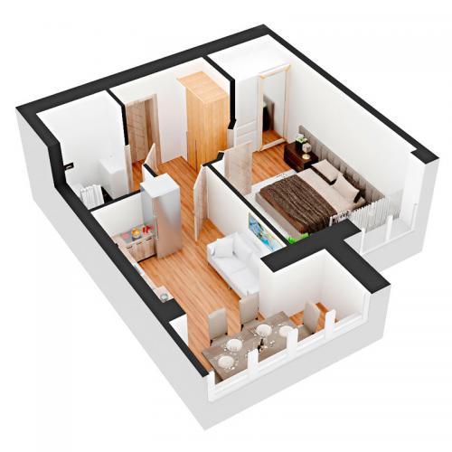 Однокімнатна квартира 39,5 м.кв.