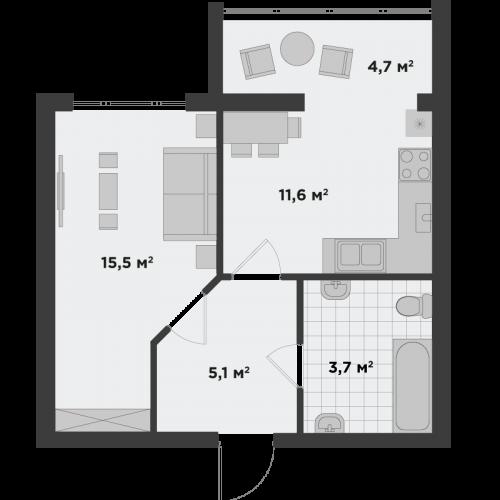 Однокімнатна квартира 40,6 м.кв.