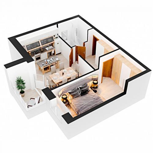 Однокімнатна квартира 50,2 м.кв.