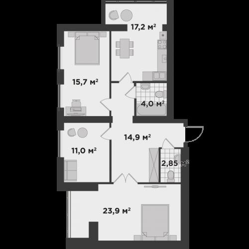 Трикімнатна квартира 93,4 м.кв.