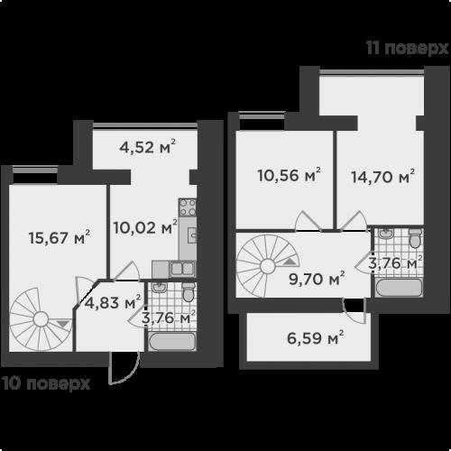 Трикімнатна квартира 74,28 м.кв.