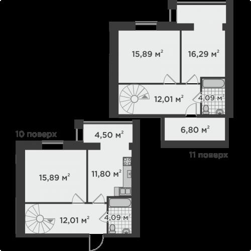 Трикімнатна квартира 102,65 м.кв.