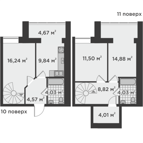 Трикімнатна квартира 82,59 м.кв.