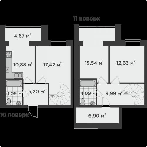 Трикімнатна квартира 91,41 м.кв.