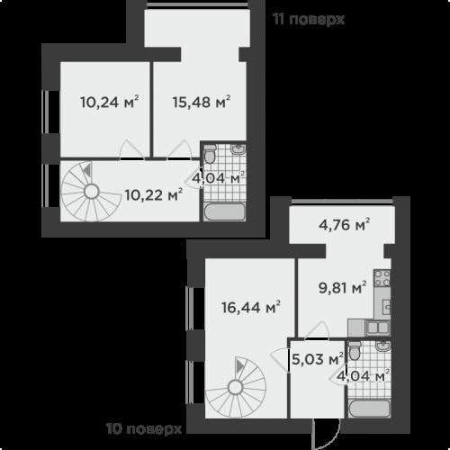 Трикімнатна квартира 80,06 м.кв.
